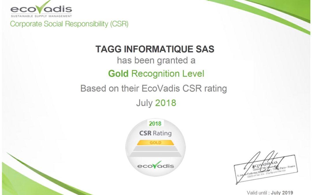 Évaluation ECOVADIS : TagG Informatique obtient le score gold de 64/100 !